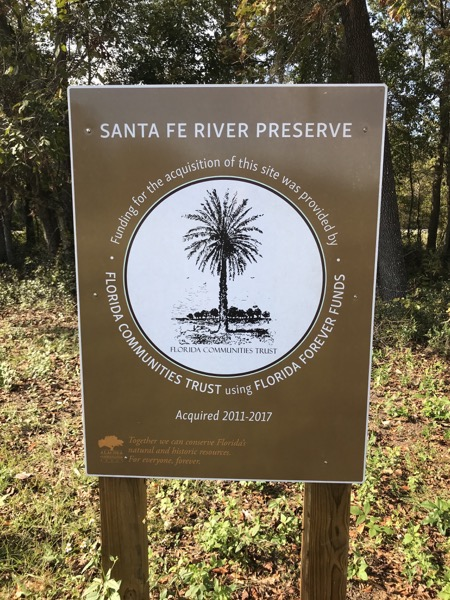 Santa Fe River Preserve Sign